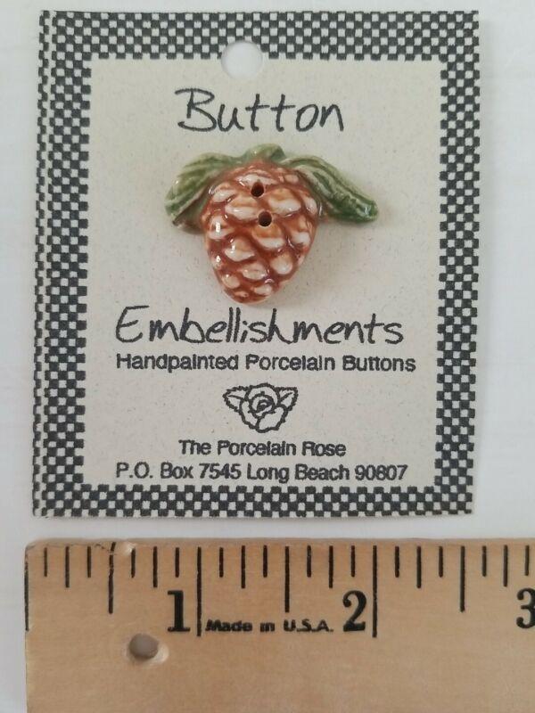 NEW ADORNMENTS Handmade Ceramic Button for Cross Stitch ACORN Autumn Harvest