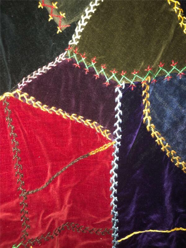 Vtg Crazy Quilt Top Runner Velvet Patchwork Embroidery Feed Sack Back