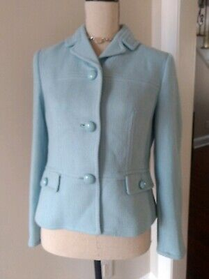 Talbots Grace Fit Baby Blue Wool Jacket Woven Textured 4 Jackie O madmen