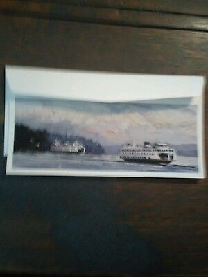 LOT OF 2 VINTAGE CHRISTMAS CARDS WASHINGTON STATE FERRIES VINTAGE HOLIDAY CARDS ()
