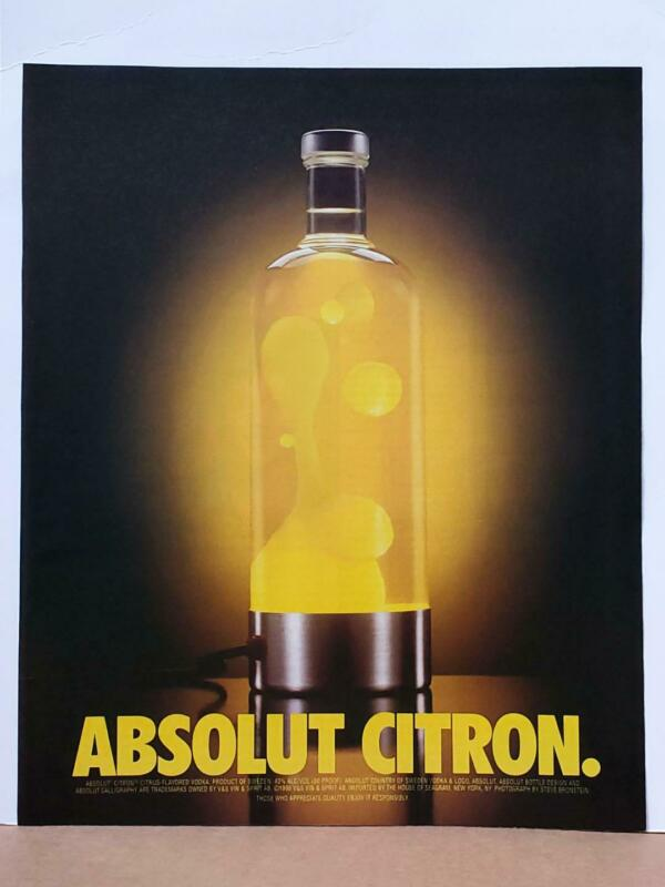 Absolut Citron Lemon Lava Lamp 1998 Photo Print AD Vodka Cool Retro Decor Large