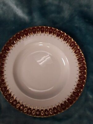 """Royal Crown Derby china 9"""" plate. heavy gold gilt on red border. XXXM. Stunning."""