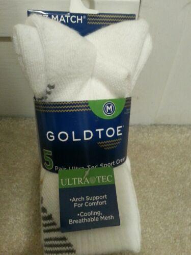 Gold Toe Boys' Athletic Crew White Socks 5Pack Size M