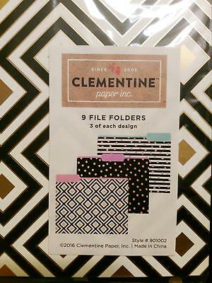 Clementine Paper File Folders 9 Ct Set Featuring Squares Dots Stripes New