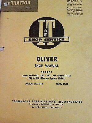 It Shop Service Manual Oliver Models Super 99gmtc 950 990 995 770 880