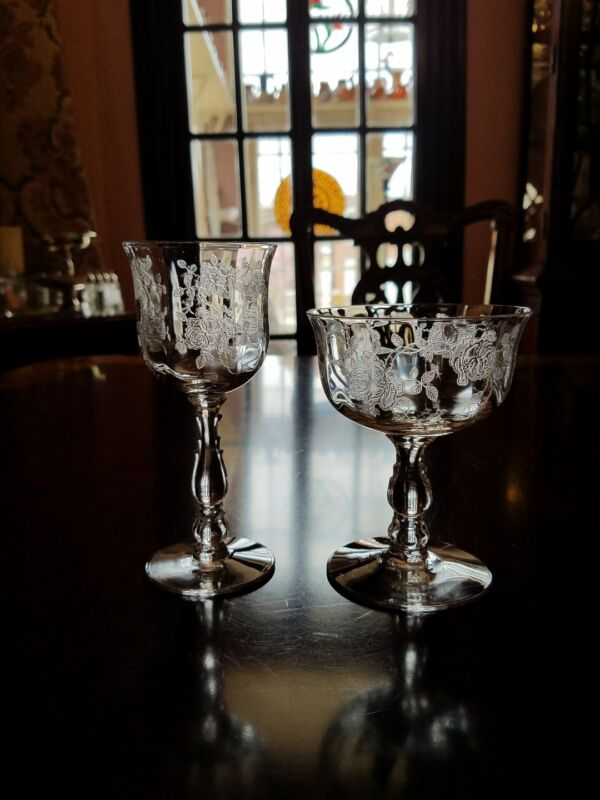 Wine, champagne coupe etched rose Willowmere by Fostoria