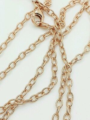 14k Rose Gold Textured Oval Cable Link Pendant Necklace Chain 20