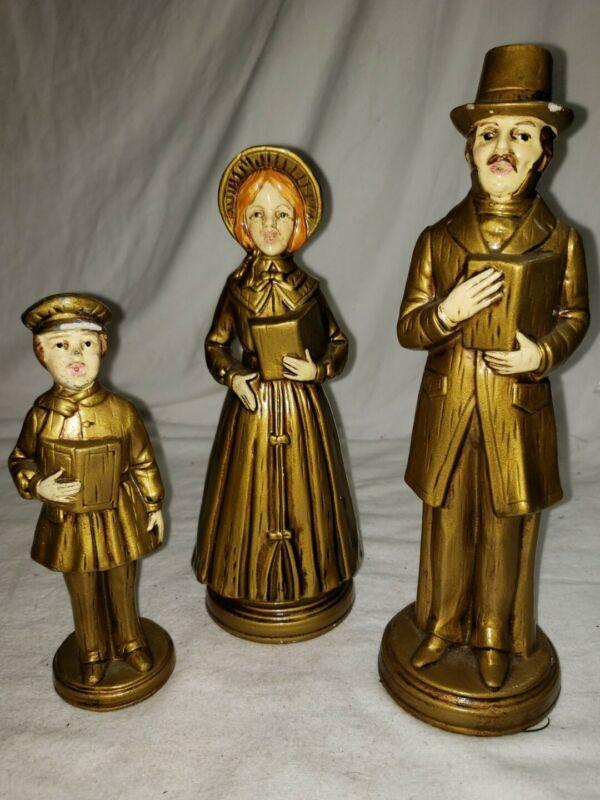 Vintage GOLD VICTORIAN FAMILY CAROLERS Made Japan Plaster chalkware 820