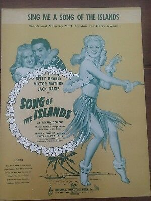 SONG OF THE ISLANDS Sheet Music Betty Grable Victor Mature 1942