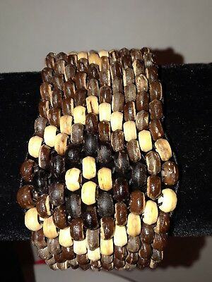 Wood Wrap Bracelet - Wood Elastic Wrist Beaded Wrap Jewelry Bracelet