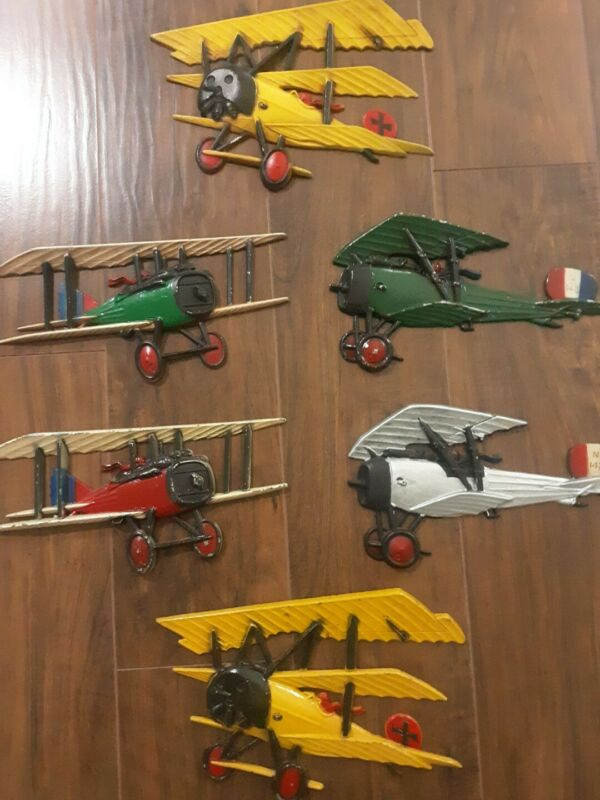 Set of 6 Vintage 1975 Homco Airplanes WWI Cast Metal Wall Art Made in the USA