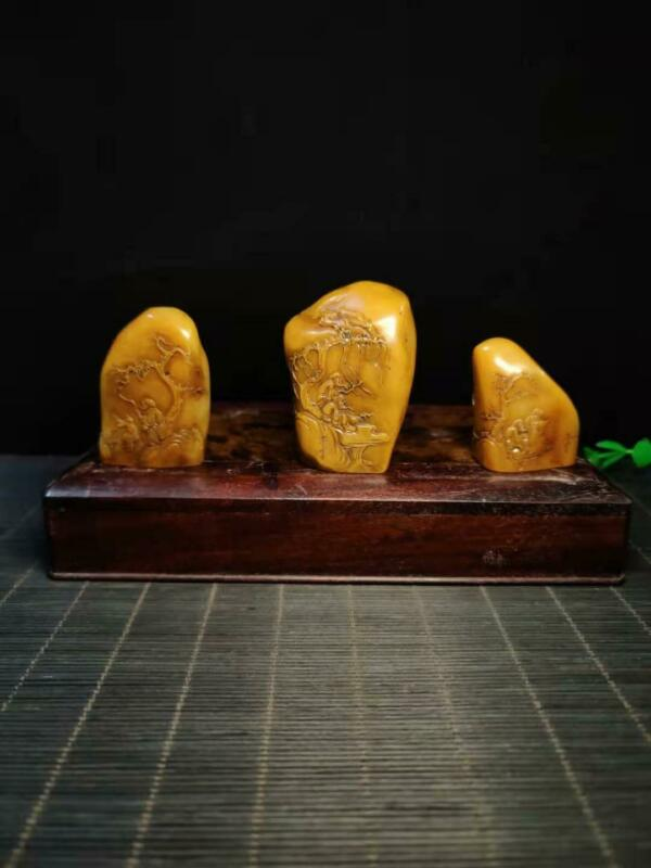 Chinese Natural Shoushan Stone Hand carved Three Piece Set Seal  1559