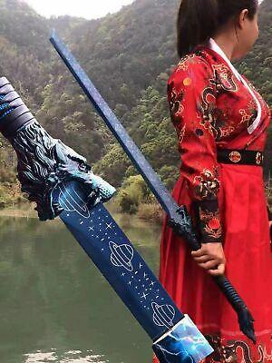 Chinese Kung Fu Sword Blue Manganese Steel Blade Sharp Wushu Dao Broadsword Wolf
