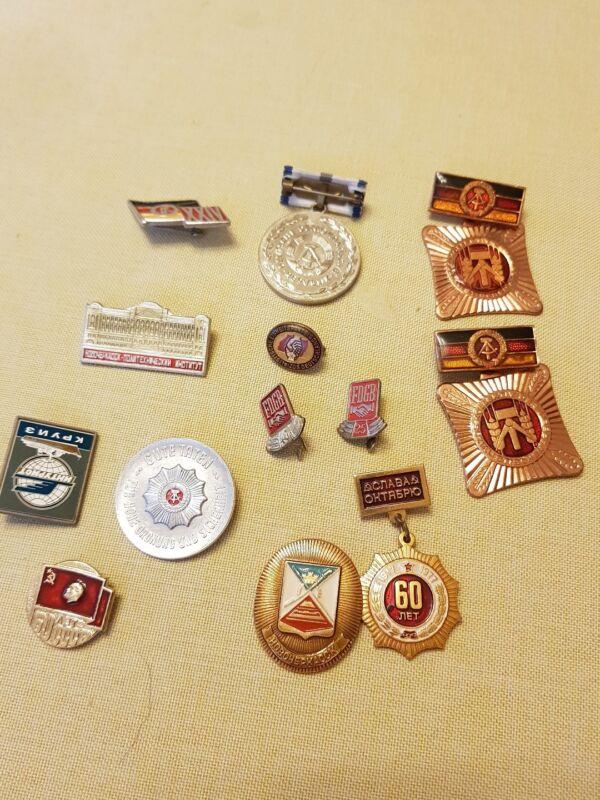 13 X Old Lapel Pins GDR & Soviet Union Look
