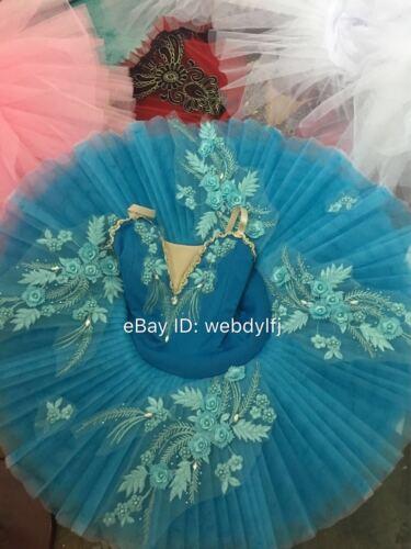 Adult Ballet Pancake Platter Tutu Skirt Dance Dress Blue Ballet Woman Costume
