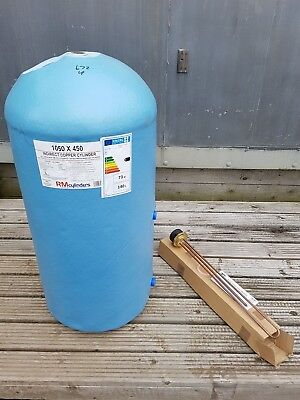 1050mm x 450mm indirect copper cylinder with fittings and thermostat