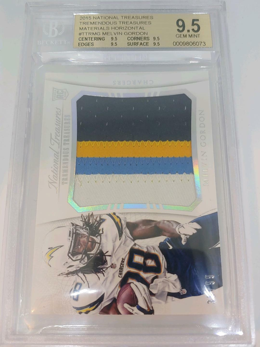 2015 NATIONAL TREASURES ROOKIE T T MATERIALS 35/99 MELVIN GORDON BGS 9.5 For Sale - 1