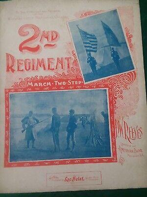 1911 CONNECTICUT National Guard 2nd REGIMENT March Sheet Music