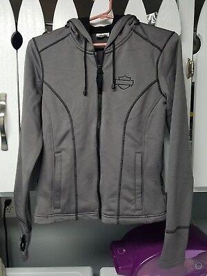 Harley-Davidson Women's Bar & Shield Gray Hoodie Zip Jacket Coat MEDIUM layer