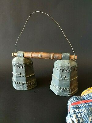 Old Double Bronze / Brass Bells from Tibet   …beautiful collection piece
