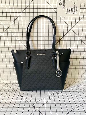 NWT Michael Kors Charlotte Top Zip Tote MK Signature Shoulder Bag Black