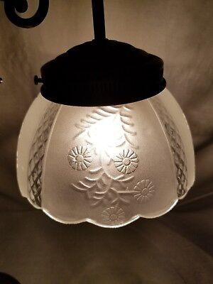 Vintage Frosted Glass Etched Oil Tulip Gwtw Lamp shade Duplex Light Scalloped