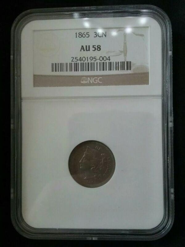 1865 Three Cent Nickel 3CN - NGC AU 58 -