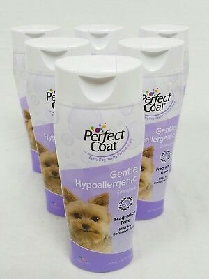 Perfect Coat Gentle Hypoallergenic 8 in 1 Dog Shampoo 16 Ounce Lot of 6 Bottles