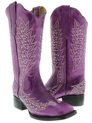 Womens Purple Western Cowgirl Boots Silver Studded Embroidered Square Toe Size - Purple Cowboy Boots