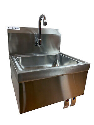 Knee Sink Stainless Steel Hand Sink Wall Mounted W Goose Neck Faucet Commercial