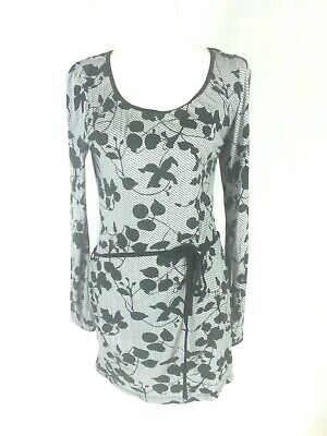 H & M Women's Tunic Dress Size Large Black White Grey Knee Length Stretch