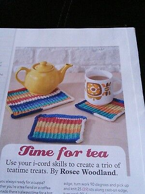 Time for Tea Knitting pattern for Mug Coasters and Teapot mat by Rosee  Woodland