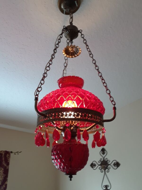 RUBY VINTAGE QUILTED HANGING LAMP WITH PRISIMS RED CRANBERRY
