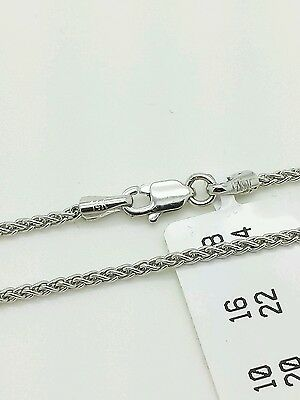 "14k White Gold Round Wheat Chain Anklet Bracelet 10"" 1.5mm"
