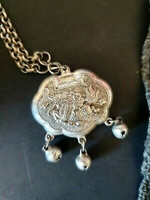 Old Chinese Baby's Good Luck Charm on Silver Chain with Silver Bracelet…