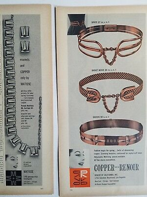 1957 RENOIR MATISSE copper jewelry belts vintage fashion ad