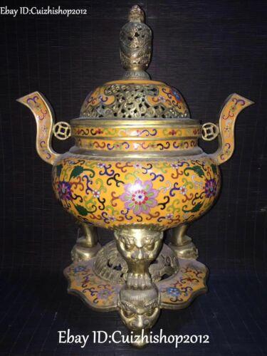 """14"""" Old Cloisonne Enamel Gild Xuande Dynasty Dragon Lion Incense Burner Censer"""