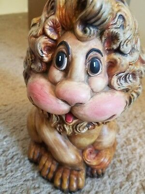"Vintage Atlantic Mold Ceramic Lion Coin Still Bank 8"" Tall Hand Painted Statue"