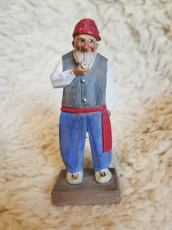 Carl Trygg Wooden Carving of Quebec Habitant signed