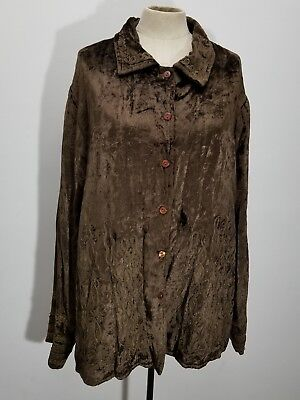 (Charter Club Womens Jacket Sz 2X Crushed Velvet Scroll Embellished Button Up)