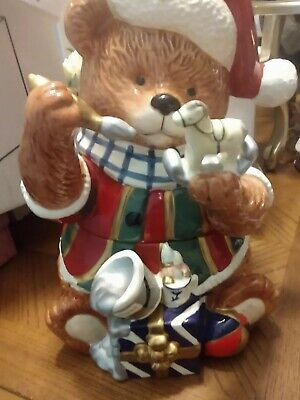 Vintage Cracker Barrel Christmas Bear Cookie Jar