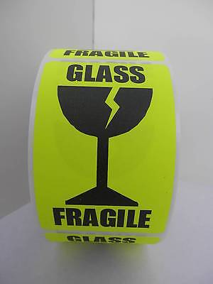 Fragile Glass Large Intl Symbol Fluor Chartreuse Warning Stickers Labels 250rl