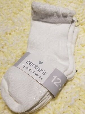 3 PK CARTER'S WHITE SOCKS GIRLS GRIPPERS FOR NON SKID 12-24 MONTHS♡♡NWT