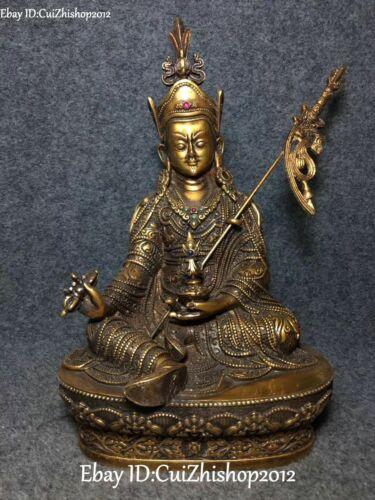 """12"""" Tibet Bronze Buddhism Seat Lotus Guru Padmasambhava Rinpoche Buddha Statue"""