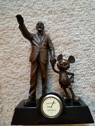 Extremely Rare! Walt Disney Mickey Mouse Bronze Figurine Statue Table Clock