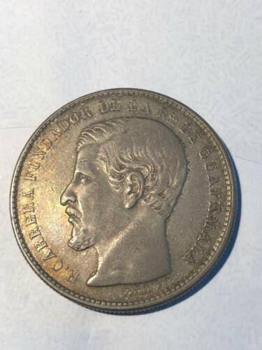 Guatemala 1867 R. Carrera 1 Peso Silver,  natural nice toning, not cleaned