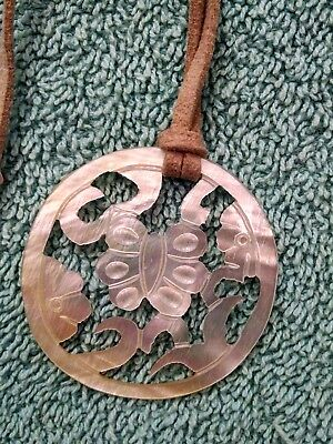 Susan Shaw adjustable leather length necklace with Ivory colored Filigree.