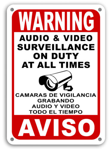 Surveillance signs Warning Security cctv sign Audio Video Camera Spanish English