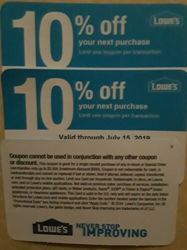 Four Lowes 10 Off Coupons Good For Use Only At Home Depot Exp. 12/15/2019 - $4.99