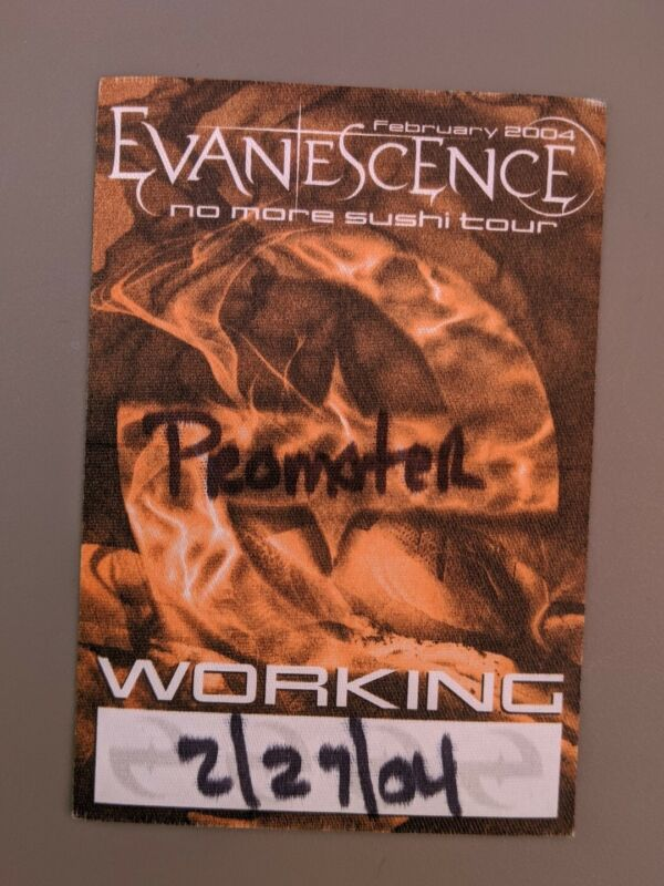 EVANESCENCE 2004 NO MORE SUSHI TOUR CONCERT SATIN BACKSTAGE PASS UNPEELED